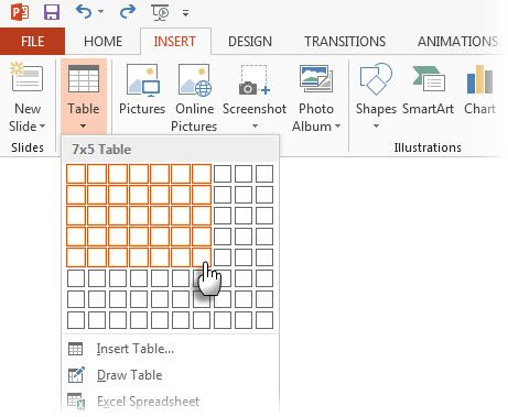 PowerPoint - Insert Table