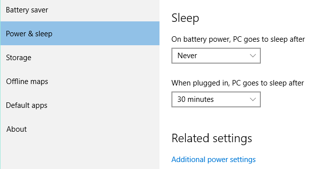 Settings Power and Sleep