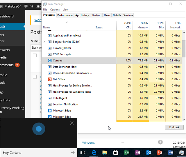 Windows 10 Cortana Usage