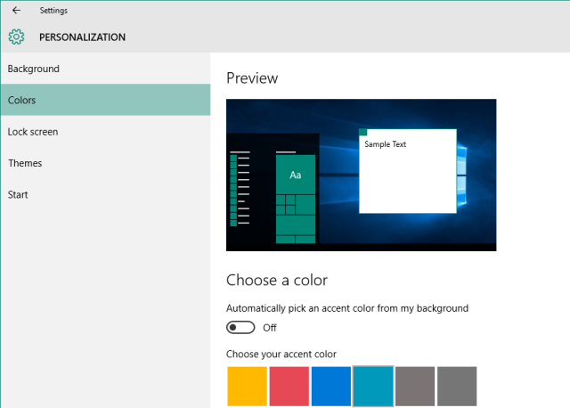Windows 10 Personalization Colors