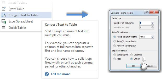 tables in word