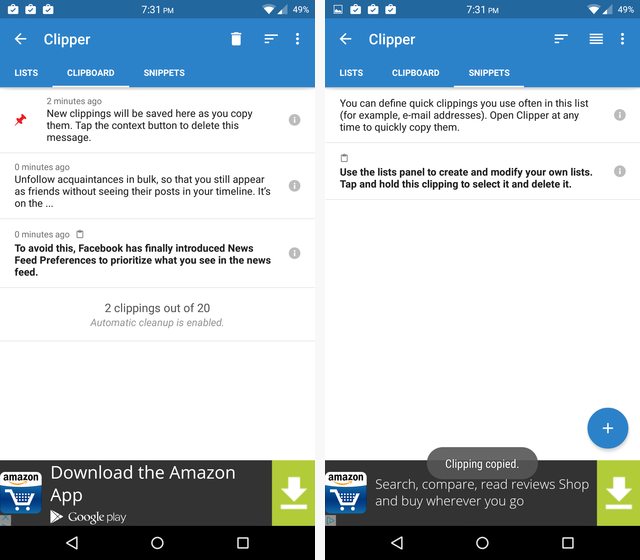 copy and paste on android - Clipper Android Clipboard App