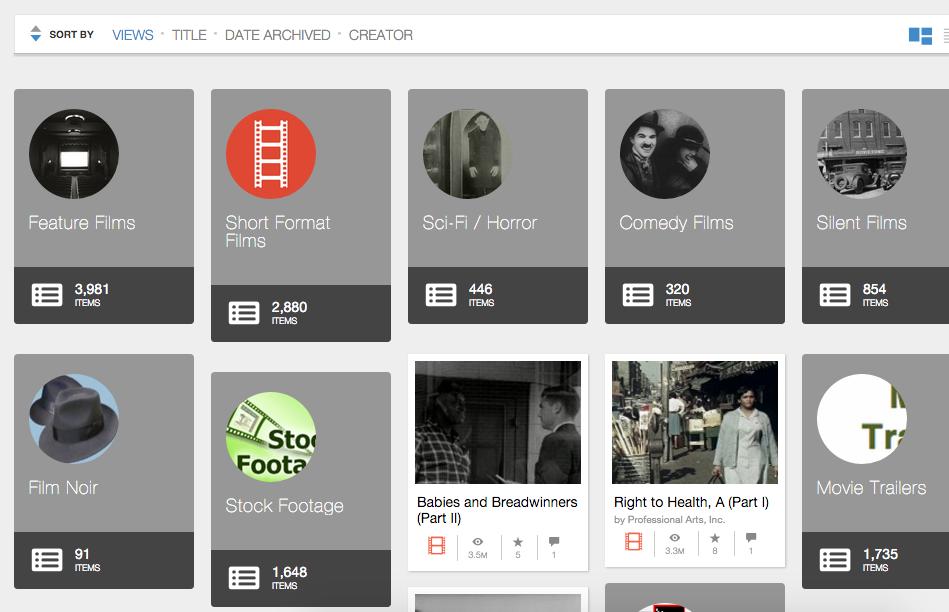 Mejores páginas para ver películas y series online legalmente Internetarchive