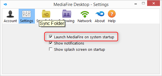 launch mediafire on system start