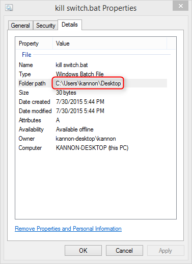 properties tab in windows explorer
