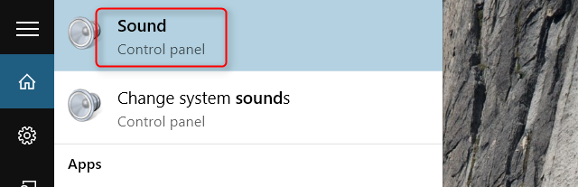 windows 10 choose sound search bar