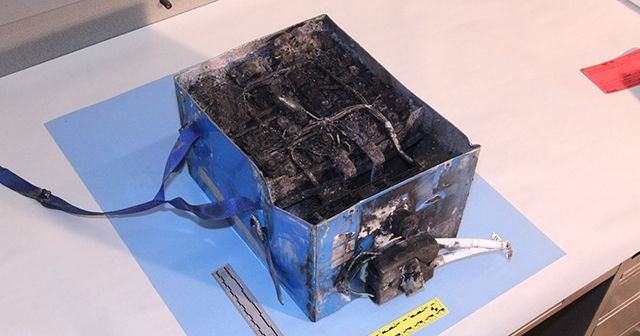 Burned Li-Ion Battery from Boeing 787 Japan Airlines
