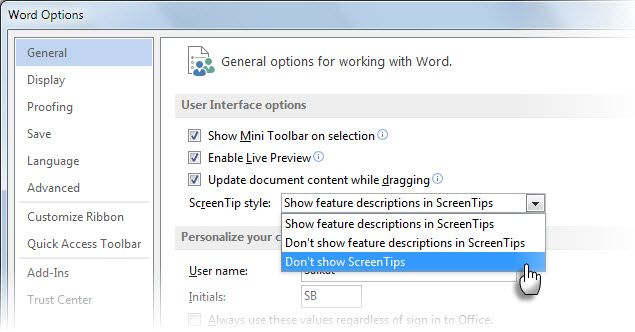Microsoft Word Tool Tip -- Options