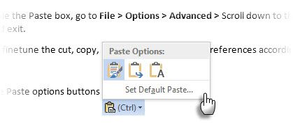 Microsoft Word -- Paste Option