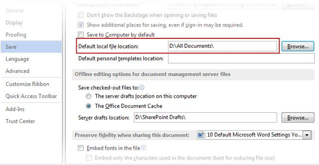 Microsoft Word - File Save Location