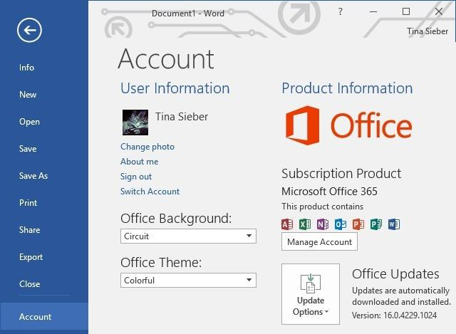Office 2016 Account