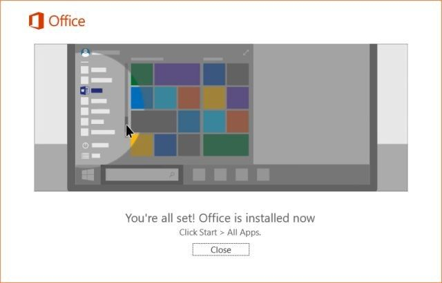 Office 2016 Successfully Installed