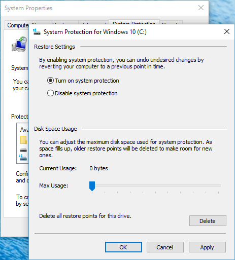 System Protection Windows 10