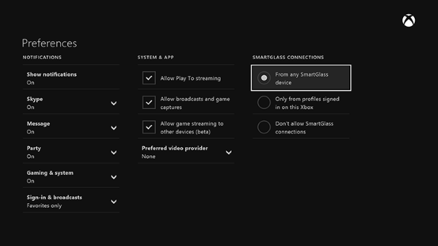 smartglass preferences