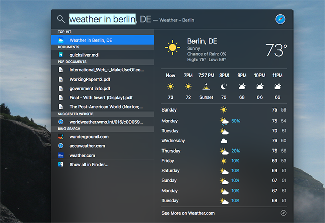 OS X El Capitan is Here! Upgrade For A Smoother Mac Experience spotlight weather
