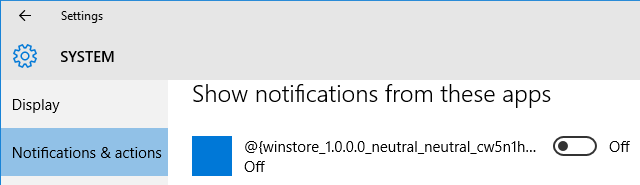Action Center Turn Notifications Off