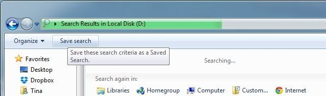 Save Search View Windows 7