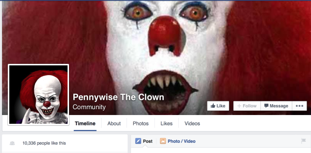 Pennywise the Clown Facebook page