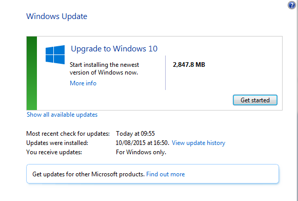 Upgrade to Windows 10 now