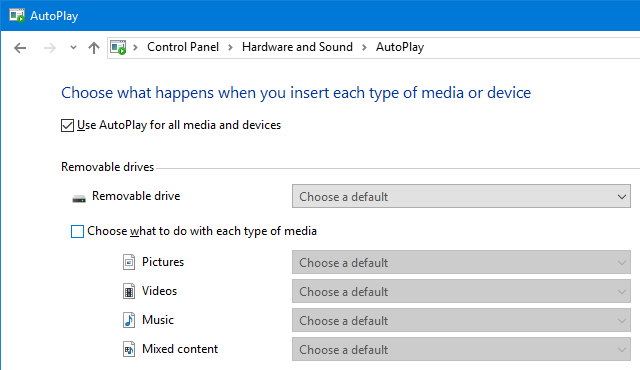 Windows 10 AutoPlay Control Panel