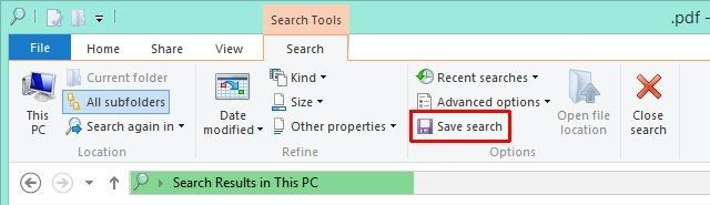 Windows 8 Save Search