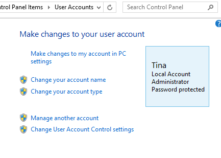 Windows 8.1 Control Panel User Accounts