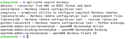 openhab apt-cache search for harmony binding