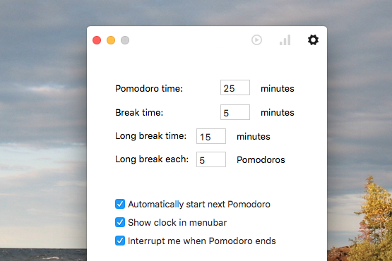 pomodoro-one-settings