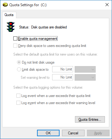 quota settings