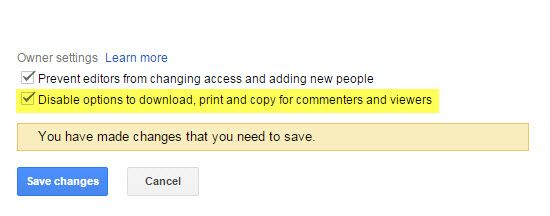 Google Drive - Disable option