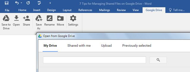 Google Drive Plugin for MS Office