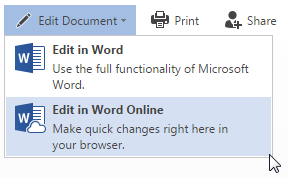 Office Online edit in word