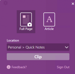Send to OneNote from Chrome