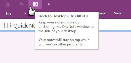Microsoft OneNote - Dock to Desktop