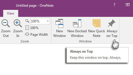 Microsoft OneNote - Quick Note on Top