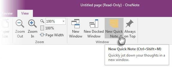 Microsoft OneNote - New Quick Note