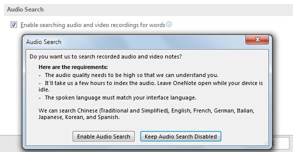 Search Audio in OneNote