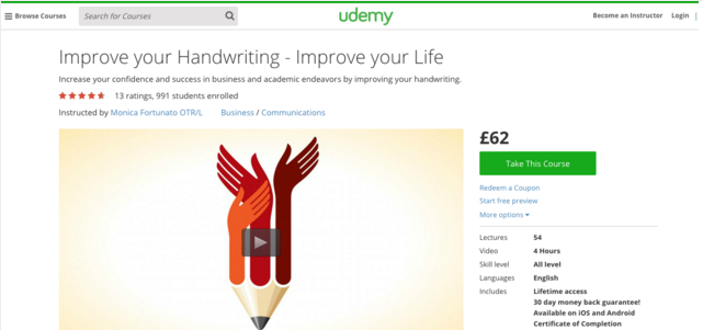 Udemy Handwriting Course