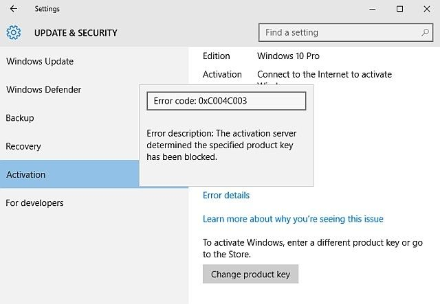 Windows 10 Activation Error Code