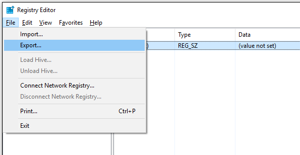backup registry key