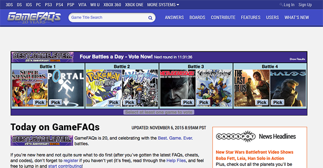 gamefaqs-homepage