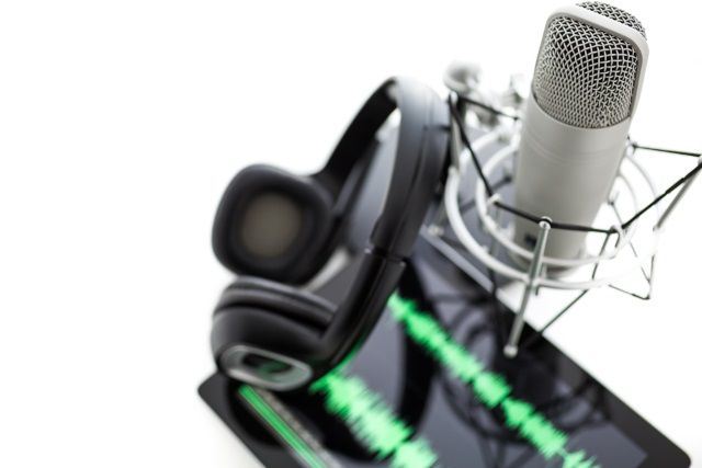 Headphones and Microphone Podcast Equipment