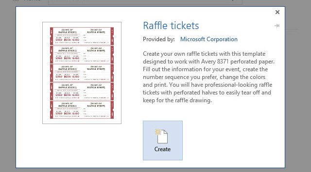 Word Raffle Ticket Template 2