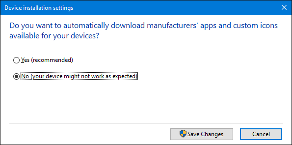 Device Installation Settings