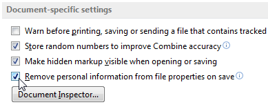 Microsoft Word 2013 Save metadata settings