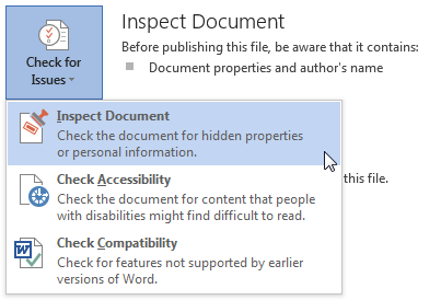 Microsoft Word 2013 inspect document