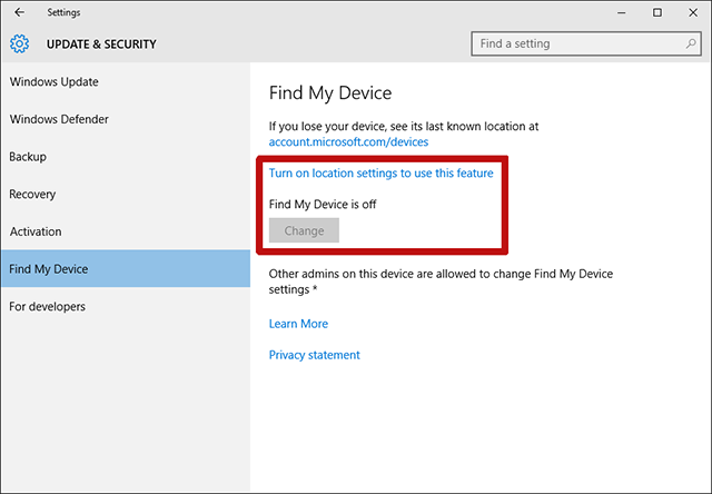 windows-10-find-my-device-activation