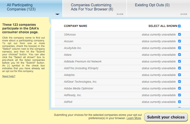 DAA-opt-out-participating-companies