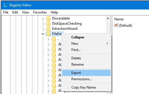Export Registry Key