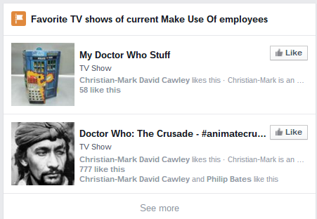 Facebook Search - TV shows liked by people who work at MakeUseOf